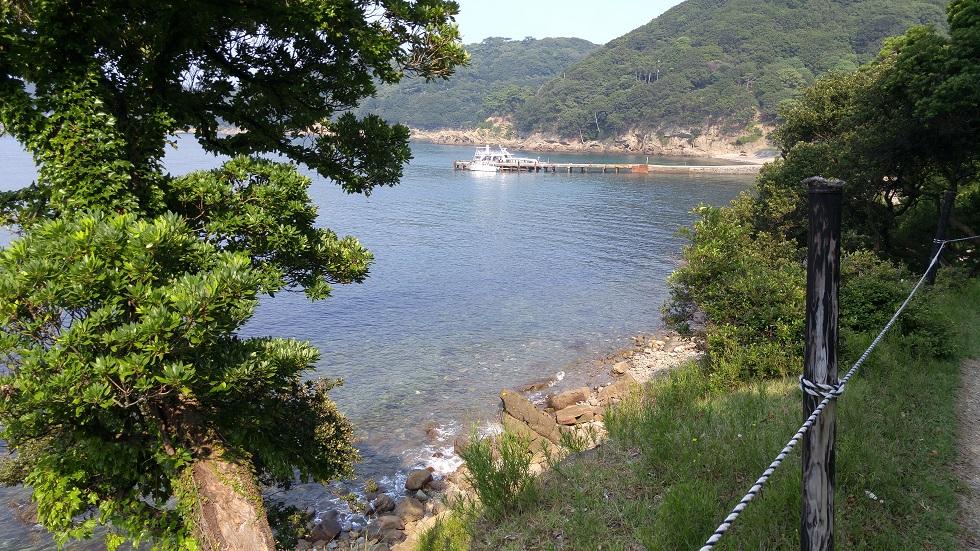 横方向から見る野奈浦桟橋