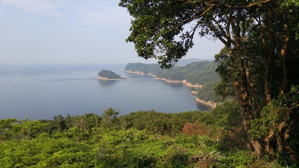 高台から眺める美しい島と海