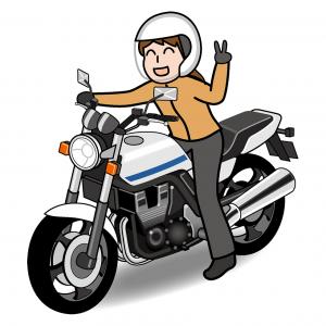バイクにまたがりピースする女性のイラスト