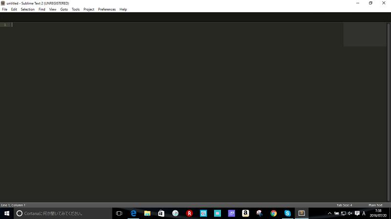 デフォルトのSublime Textの画面