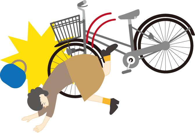 自転車で前のめり