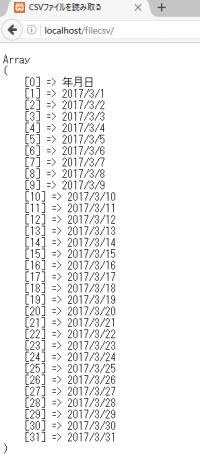 年月日の配列の表示